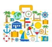 Reisekoffer mit Reiseikonen Stockfotografie