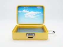 Reisekoffer Setzen Sie Ferien auf den Strand Lokalisiertes Weiß Lizenzfreies Stockfoto
