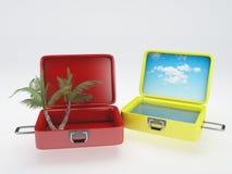 Reisekoffer Setzen Sie Ferien auf den Strand weiß Stockbild