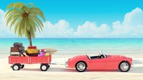 Reisekonzept, Auto mit dem Gepäck, das zu den Sommerferien 3D bereit ist, übertragen Lizenzfreie Stockbilder