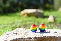 Reisekonzept für lgbt Paare Zwei Eier mit LGBT-Flaggenmuster stockbilder