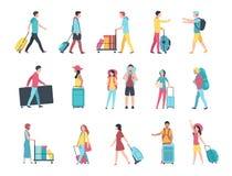Reiseleute Gepäckmengenpassagierkontrollpasskontrolleterminalreihe des Flughafens touristische Leute mit Gepäck lizenzfreie abbildung