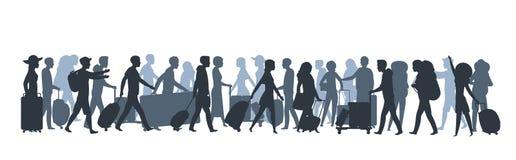 Reiseleuteschattenbild Familientouristen, die mit großen Taschen, Geschäftsperson mit Koffergepäck kaufen Vektor vektor abbildung