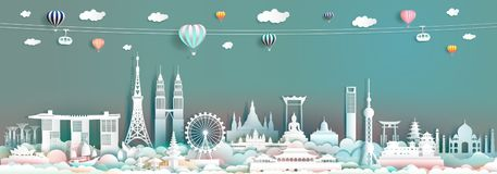 Reisemarkstein Asien mit im Stadtzentrum gelegenen Stadtbildskylinen und asean-Tourismus lizenzfreie stockbilder