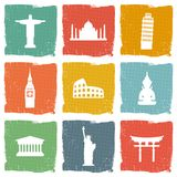 Reisemarkstein-Ikonensatz Stockbilder