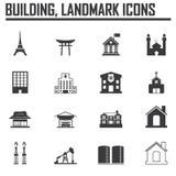 Reisemarksteinikone Satz und Gebäude Stockfotos
