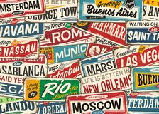 Reisemuster mit weltweiten Städten und Plätzen lizenzfreie abbildung
