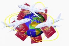 Reisen auf der ganzen Welt auf weißem Hintergrund Stockfoto