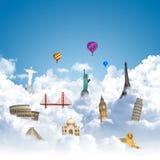 Reisen der Welttraumgrenzstein Lizenzfreies Stockfoto