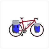 Reisen des Fahrrades mit blauen Taschen lizenzfreies stockfoto
