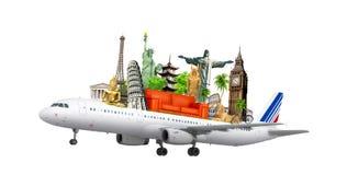 Reisen die Welt mit dem Flugzeug, vektor abbildung