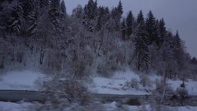 Reisen durch schneebedecktes Holz des Zugs mit Fluss stock footage