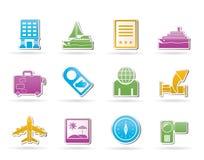 Reisen-, Ferien- und Feiertagsikonen Lizenzfreie Stockbilder
