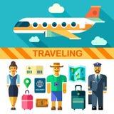 Reisen flacher Ikonensatz und -illustrationen des Farbvektors mit dem Flugzeug Stockfotos