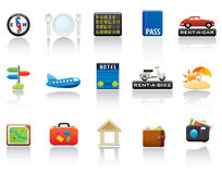 Reisen-Ikonen-Set Stockfotografie
