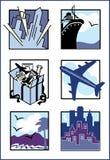 Reisen-Ikonen/Zeichen Stockfotos