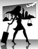 Reisen-Mädchen-Schattenbild lizenzfreie abbildung