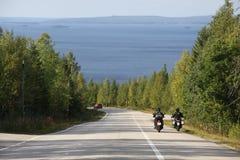 Reisen mit dem Motorrad stockbild