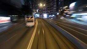 Reisen mit der Tram in der Nacht Hong Kong Stockfotografie