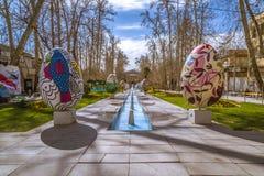 Reisen nach Teheran in Norooz Ostern-eaggs, Baq Ferdows im Iran während Frühlinges 2017 Stockbilder