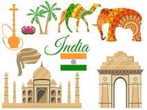 Reisen Sie nach Indien, traditionelle Symbole Indias, Ikonenanziehungskräfte Stockbilder