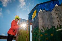 Reisen Sie zur einzigartigen Gebirgstoilette in hohem Tatras, Slowakei stockfoto