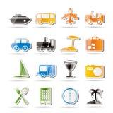 Reisen-, Transport-, Tourismus- und Feiertagsikonen Stockbild