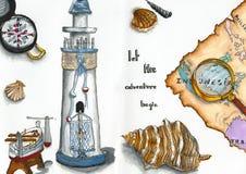 Reisen und andventures Mischung gemalt durch Markierungen Lizenzfreies Stockbild