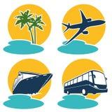 Reisen- und Ferienikonen Stockfoto