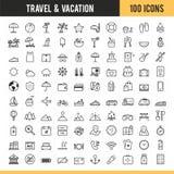 Reisen- und Ferienikonen Auch im corel abgehobenen Betrag Lizenzfreies Stockfoto
