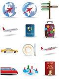 Reisen- und Kugelikonen Stockbild