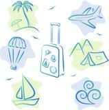 Reisen-und Tourismus Ikonen stock abbildung