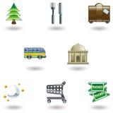 Reisen-und Tourismus-Ikonen Stockbilder
