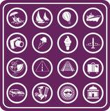 Reisen-und Tourismus Ikonen Lizenzfreies Stockfoto