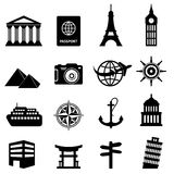 Reisen- und Tourismusikonen Lizenzfreie Stockbilder
