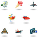 Reisen- und Tourismusikonenset Lizenzfreie Stockfotos