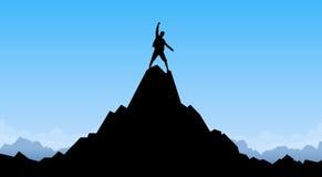 Reisend-Mann-Schattenbild-Stand-Spitzen-Gebirgsfelsen-Spitzen-Bergsteiger stock abbildung