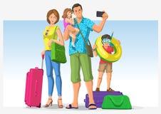 Reisende Familie, die im Urlaub geht Stockfotografie