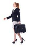 Reisende Geschäftsfrau lokalisiert Lizenzfreie Stockfotos