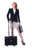 Reisende Geschäftsfrau lokalisiert Lizenzfreies Stockfoto