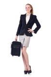 Reisende Geschäftsfrau lokalisiert Lizenzfreie Stockfotografie