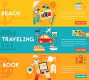 Reisende Konzepte - Strand, Besichtigung, suchend und buchen, Tourismus Flache materielle horizontale Fahnen Stockbild