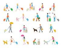 Reisende mit Koffern auf weißem Hintergrund Stockfotos