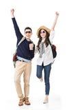 Reisende Paare fühlen sich aufregend stockbilder