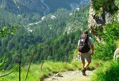 Reisender auf dem Weg zu den Felsen Lizenzfreies Stockfoto