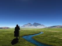 Reisender auf einem Hintergrund von Bergen vektor abbildung