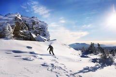 Reisender in den Bergen im Winter Lizenzfreies Stockbild