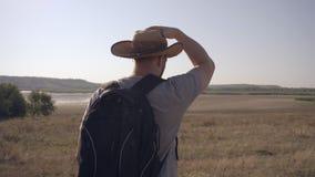 Reisender, der mit einem Rucksack, Ansicht von der Rückseite geht stock footage