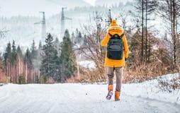 Reisender geht auf Schnee bedeckte Straße im Winterwald Lizenzfreie Stockfotos