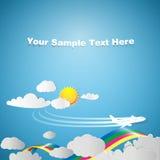 Reisender Hintergrund mit Fläche und Regenbogen Lizenzfreies Stockfoto